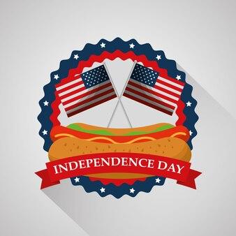 Nourriture de hot-dog et drapeaux fête de l'indépendance américaine