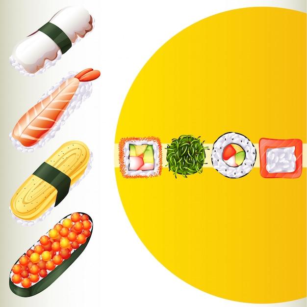 Nourriture japonaise sur l'affiche