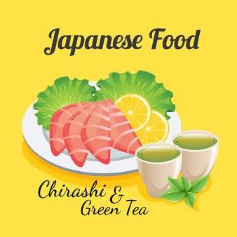 Nourriture japonaise chirashi et thé vert