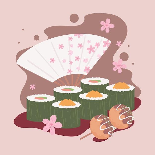 Nourriture japonaise et fan