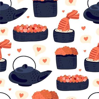Nourriture japonaise de modèle sans couture de sushi
