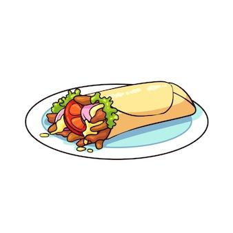 Nourriture kebab dessiné à la main