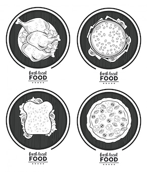 Nourriture locale fraîche, avec set de délicieux fast food