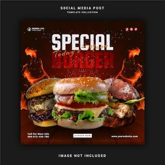 Nourriture menu spécial burger publication sur les réseaux sociaux