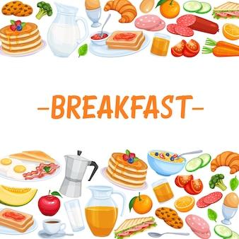 Nourriture de modèle de page de petit-déjeuner.