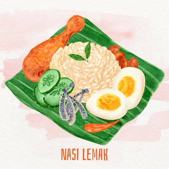 Nourriture nasi lemak peinte à la main illustrée