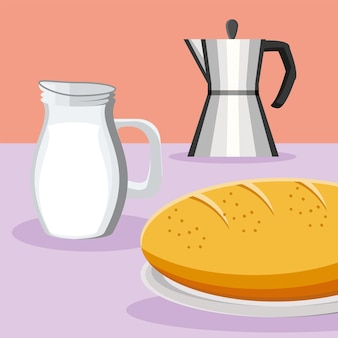 Nourriture de pain de lait de café de petit déjeuner