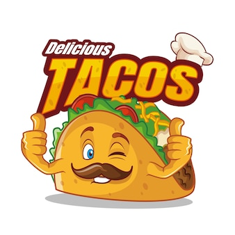 Nourriture de personnage de dessin animé taco