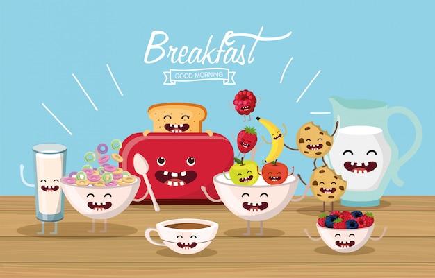 Nourriture de petit déjeuner délicieuse et heureuse avec bras et jambes