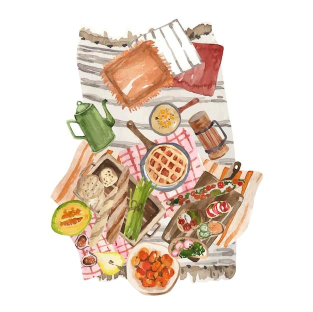 Nourriture de pique-nique d'automne d'aquarelle sur le couvre-lit