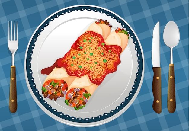 Nourriture et un plat