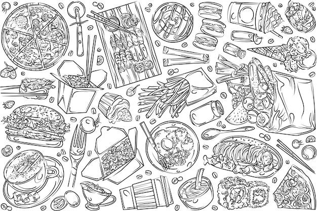 Nourriture de restaurant dessinée à la main