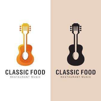 Nourriture de restaurant avec logo de chanson de musique classique. dîner avec modèle de conception de logo de musique
