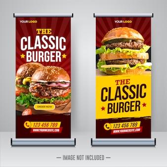 Nourriture de restaurant roll up ou modèle de bannière x