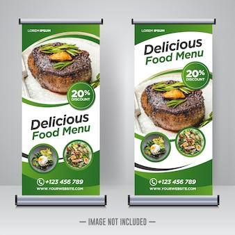 Nourriture et restaurant roll up modèle de conception de bannière