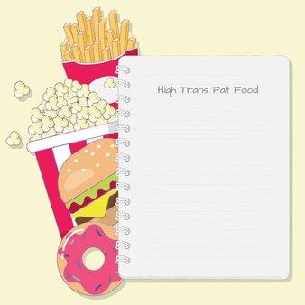 Nourriture riche en gras trans avec dessin animé de bloc-notes.
