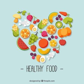 Nourriture saine colorful avec le coeur en forme