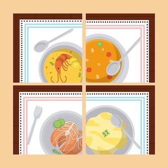 Nourriture saine dans des cadres carrés