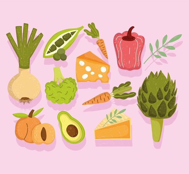 Nourriture saine légumes fruits fromage et gâteau icônes illustration