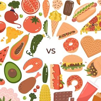 Nourriture saine vs malbouffe