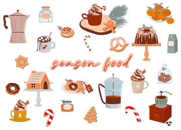 Nourriture de saison de noël bonbons bonbons cacao boisson chaude biscuits en pain d'épice illustration de nourriture de dessin animé mignon illustration modifiable