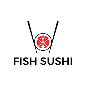 Nourriture de sushi moderne du logo du japon