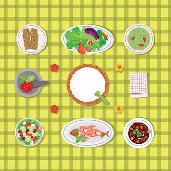 Nourriture traditionnelle d'indonésie avec légumes riz et poisson