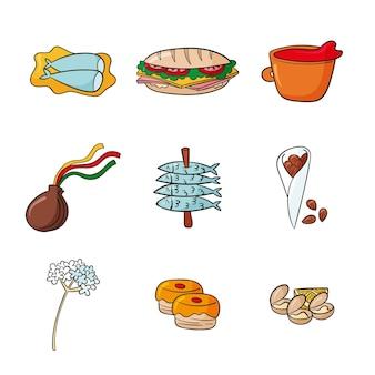 Nourriture typique de malaga dessinée à la main