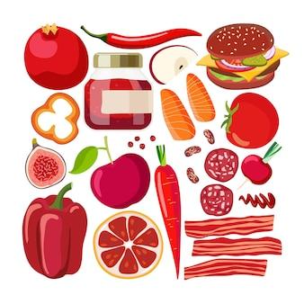 Nourriture vectorielle rouge légumes et fruits et autres aliments rouges sur blanc avantages de la couleur de la chromothérapie