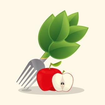 Nourriture végétalienne pomme fraîche