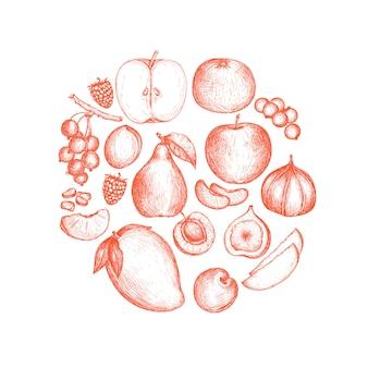 Nourriture végétalienne saine fond dessiné à la main