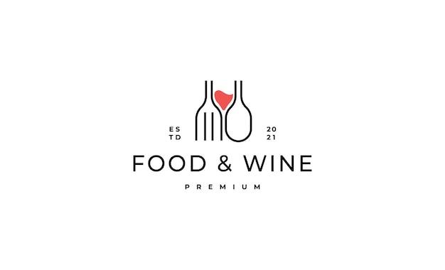 Nourriture et vin logo design illustration vectorielle