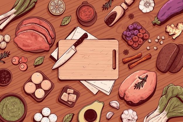 Nourriture vintage dessinée à la main