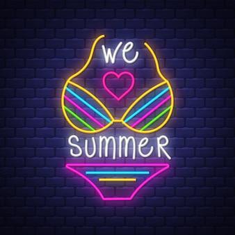 Nous adorons les lettrages d'été en néon avec le bikini