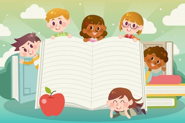 Nous aimons lire des illustrations avec espace de copie