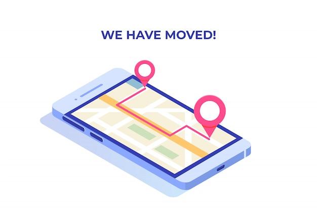 Nous avons déménagé, changé le concept isométrique d'adresse, modèle de page de destination.