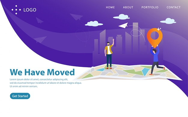 Nous avons déménagé, illustration vectorielle de site web