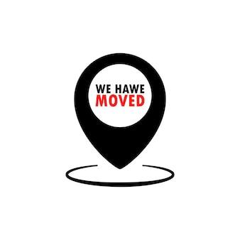 Nous avons déplacé l'icône. pointeur de localisation de la carte. illustration de dessin animé plat de vecteur pour la conception de sites web et de bannières
