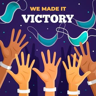 Nous avons remporté la victoire sur le lettrage des coronavirus