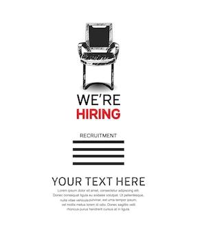 Nous embauchons une affiche d'emploi avec une chaise vide