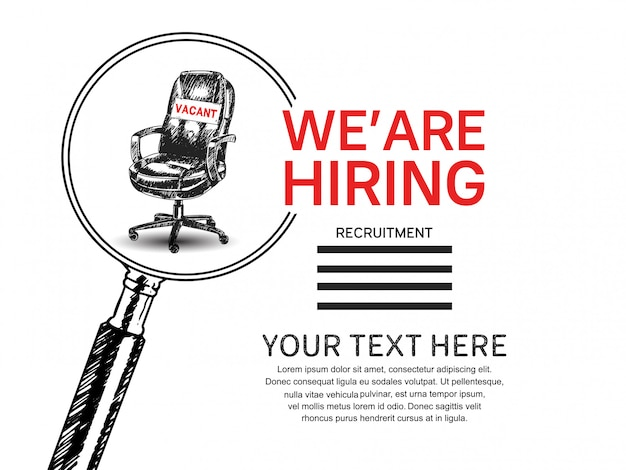 Nous embauchons une affiche de travail avec une loupe et une chaise dessinée à la main