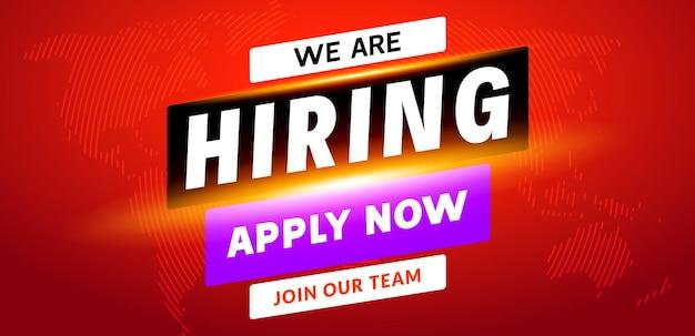 Nous embauchons un arrière-plan de message d'employé de carrière. emploi embauche bannière de concept de recrutement d'emploi.