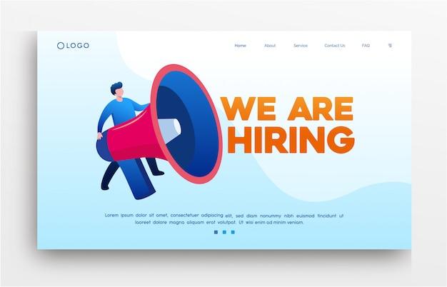 Nous embauchons une bannière de modèle de site web de page de destination