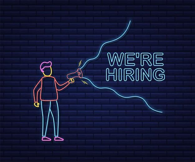 Nous embauchons une bannière web. mégaphone avec nous embauchons discours sur fond vert. style néon. illustration vectorielle de stock.