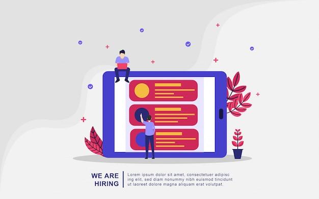 Nous embauchons le concept d'illustration. expérience de recherche créative dans les ressources humaines des agences d'emploi