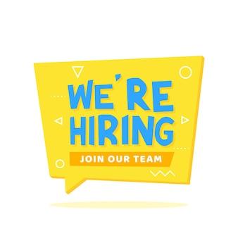 Nous embauchons des lettres sur une bulle de dialogue en origami avec un fond jaune. annonces, dépliants, affiches, bannières vector illustration.
