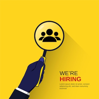 Nous embauchons une main de concept tenant une loupe, une illustration de recrutement d'entreprise