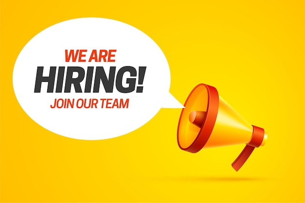 Nous embauchons un modèle d'affiche de concept de poste vacant externaliser l'équipe embaucher un employé créatif
