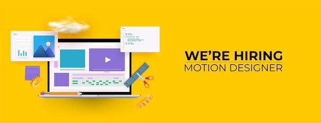 Nous embauchons des monteurs vidéo. concept de recrutement d'emploi. 3d.