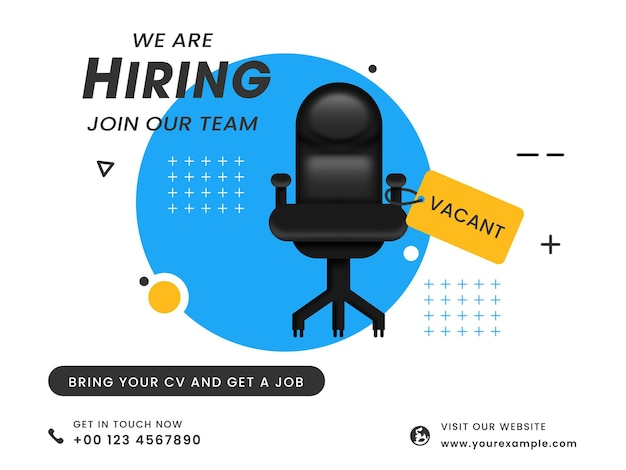 Nous embauchons rejoignez notre équipe de conception d'affiches avec une chaise de bureau vacante pour la désignation.